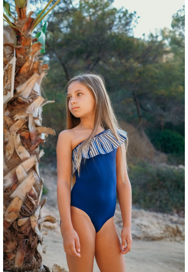 One shoulder swimsuit, with frill, UPF 50+