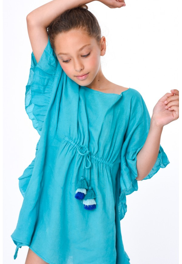 Caftan with frills and tassels