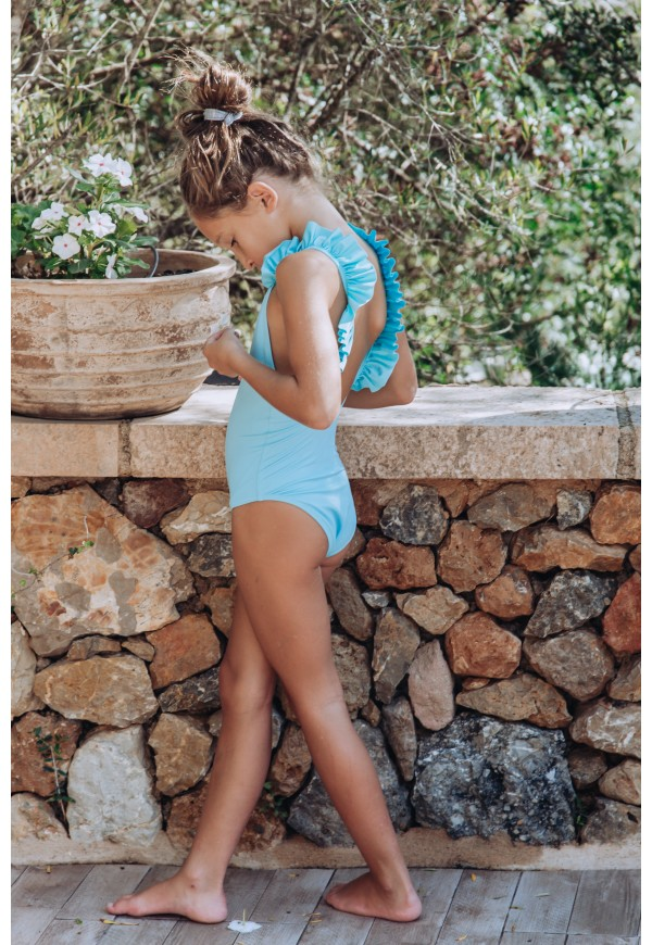 One piece swimsuit with frills, recycled fibre Econyl®, UPF 50+