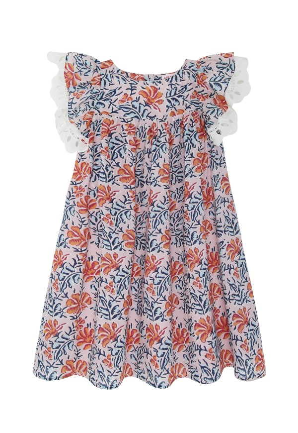 Girls' dress, exclusive floral print and lace