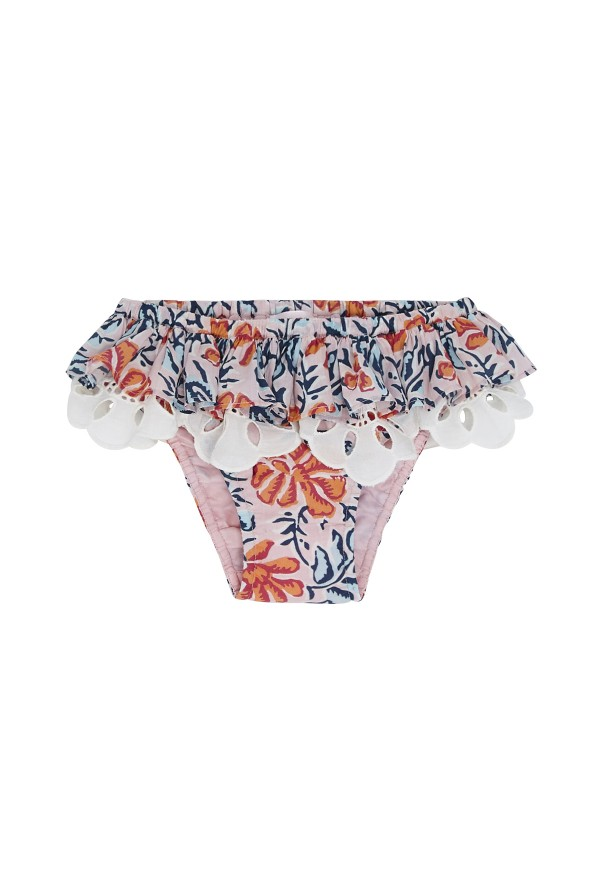 Baby panty with floral print and lace