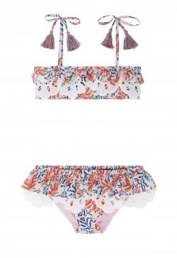 Girls' bikini with exclusive floral print and lace