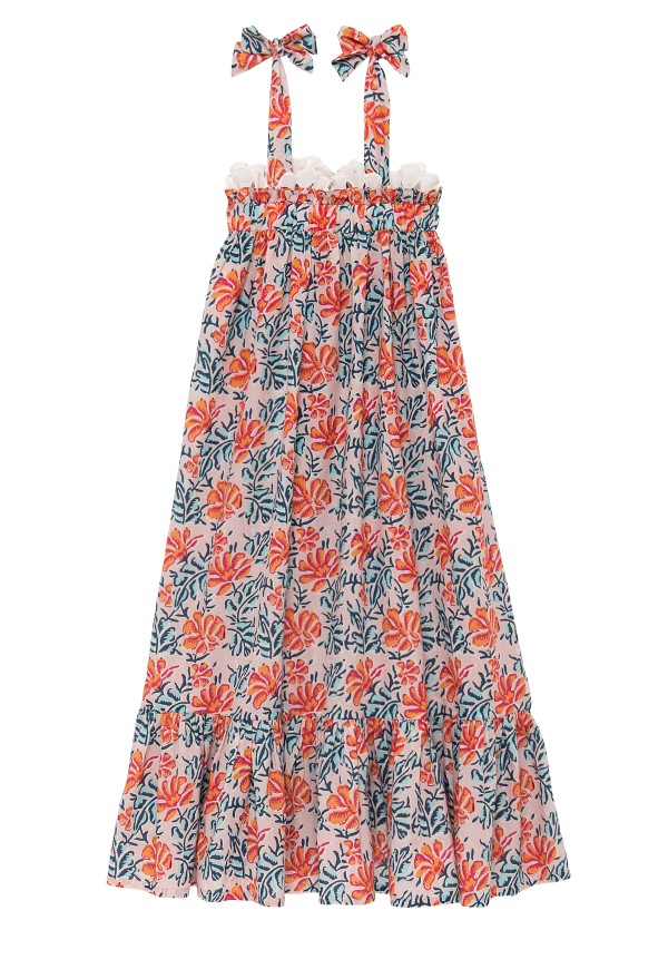 Girls' summer dress with exclusive floral print and lace