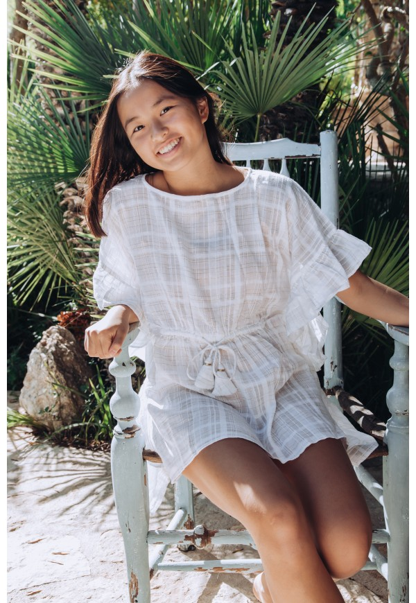 Caftan  with frills and lurex