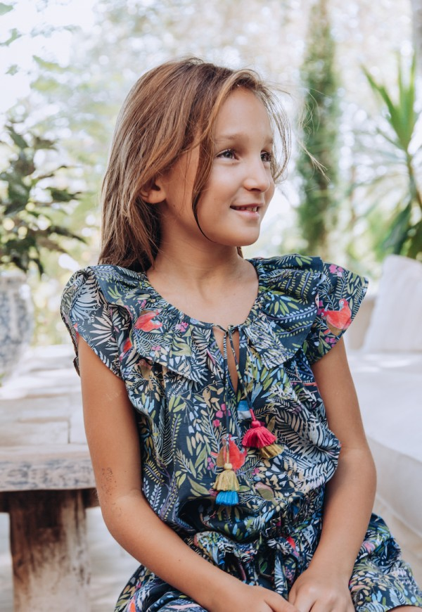 Girls' blouse, Little Cabari print