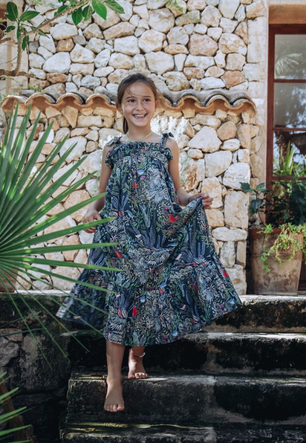 Long summer dress, Little Cabari print