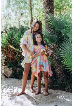 Frill caftan with pompons