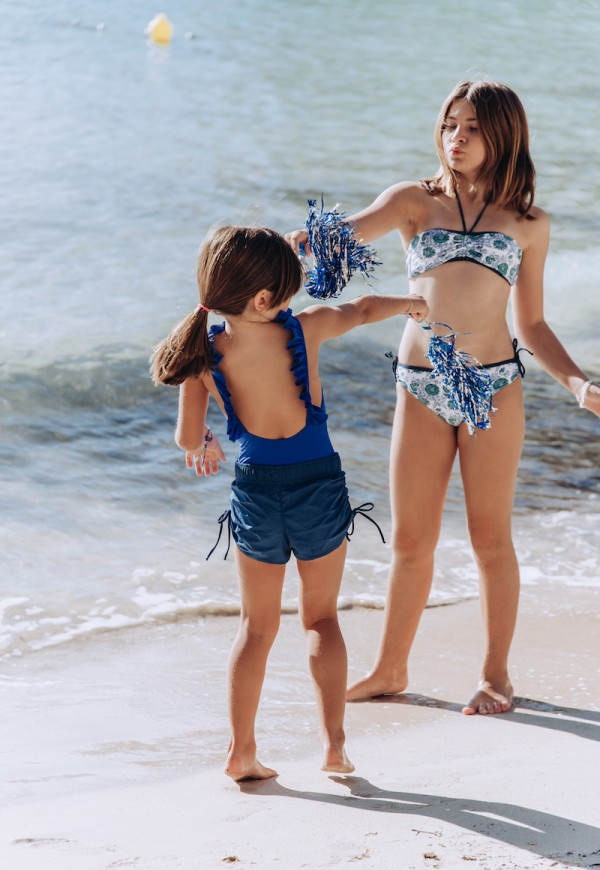 One piece swimsuit with embroidery, UPF 50+